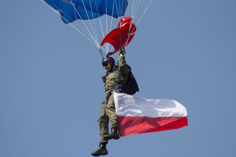 a parachute, a skydiver, the sky